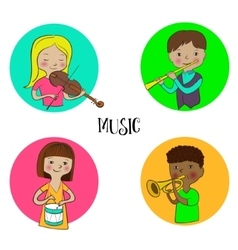 Musician children set of round icons vector image vector image