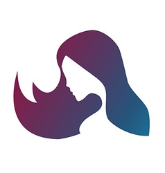 silhouette of a girl in profile with long hair vector image