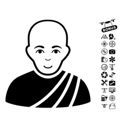 Buddhist Monk Icon With Copter Tools Bonus vector image vector image