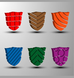 set of 3d colored shields vector image