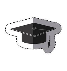 sticker monochrome graduation hat icon vector image vector image