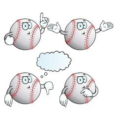 Thinking baseball set vector image vector image