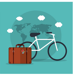 bicycle travel suitcase world vacation vector image vector image
