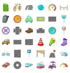car traffic icons set cartoon style vector image vector image