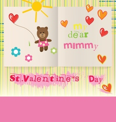 Childrens valentines day card for mom vector