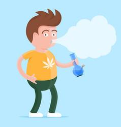 man with bong in the hand smoking marijuana vector image vector image