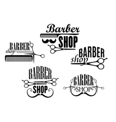 Barber Shop badges or signs set vector image vector image