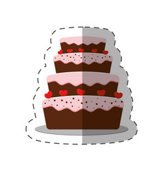 cake dessert red heart shadow vector image vector image