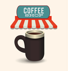 Coffee shop mug hot beverage image vector