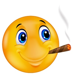Emoticon smiley smoking cigar vector