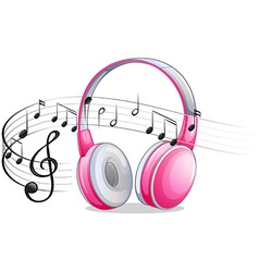 Headphone and notes vector image vector image