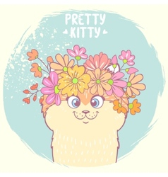 Kitten with flowers vector