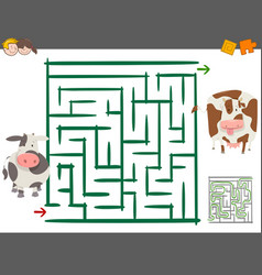 maze leisure game with cows vector image