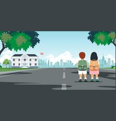 students walk to school vector image vector image