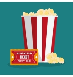 Ticket and pop corn of carnival design vector