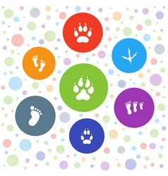 7 footprint icons vector