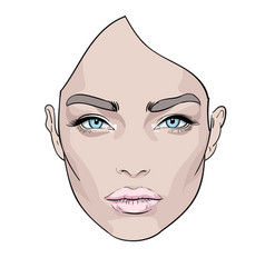A beautiful woman s face creative fashion vector