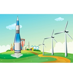 A rocket at the hilltop with windmills vector