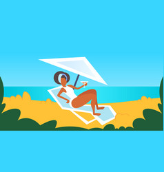 african american girl in white swimsuit sunbathing vector image