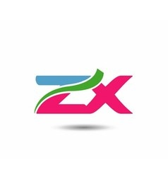 Alphabet z and x letter logo vector