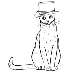 Animal portrait cat in tall hat vector