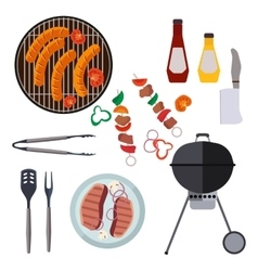barbecue design elements and grill summer vector image