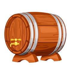 Beer wooden barrel on white background vector