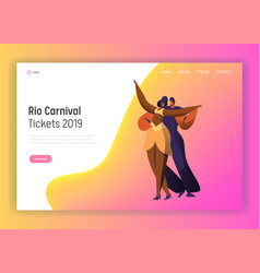 Brazil dance carnival couple character web page vector