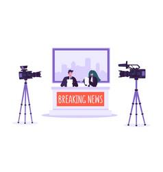 breaking news tv studio mass media characters vector image
