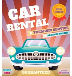 Car rental retro poster vector