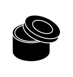 Carton box in circle shape icon vector