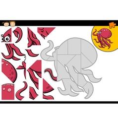 Cartoon jigsaw puzzle game vector