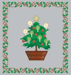 christmas tree with a holly pattern brush border vector image
