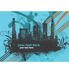 city with grunge and floral vector image