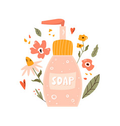 Colorful a bottle with liquid soap vector