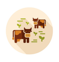 cow on a pasture icon vector image