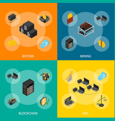 cryptocurrency mining blockchain 3d banner set vector image