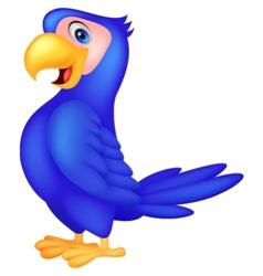 Cute blue parrot cartoon vector image