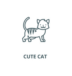 cute cat line icon cute cat outline sign vector image