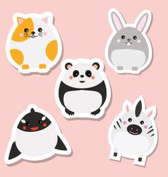 cute kawaii animals stickers set vector image