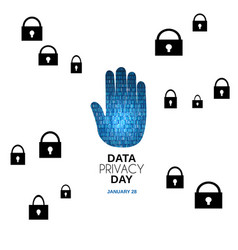 data privacy day abstract background hand stop vector image