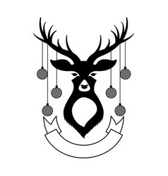 deer with christmas balls and ribbon vector image