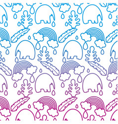 Degraded line elephant with leaves and rainbow vector