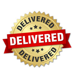 Delivered round isolated gold badge vector