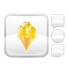 Dessert food icon with vanilla ice cream cone and vector image