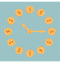 Dollar coins clock Blue background vector image