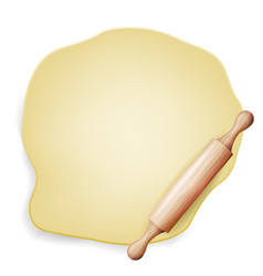 dough wooden rolling pin baking vector image
