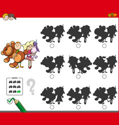 Educational shadow game with kids and toys vector