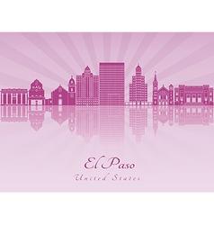 El Paso skyline in purple radiant orchid vector image