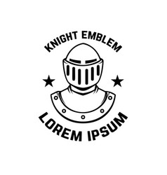 Emblem template with knight armor design element vector